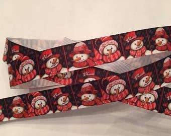 """Christmas Snowman Grosgrain Ribbon 5/8"""" for Winter"""