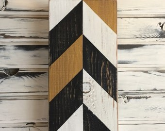 Hand-painted Chevron Signs on Reclaimed Wood, Gallery Wall, Accent Color, Sign Wall, Black, Gold and White, Distressed