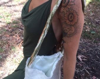 Hand Felted White Shoulder Bag