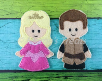 Aurora & Prince Phillip - Set of 2 Finger Puppets Inspired by Slipping Beauty