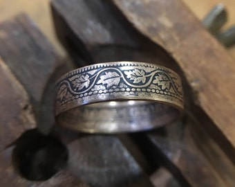 c.1900 1c Canadian Penny Coin Ring | Copper Leaf Design | Sizes 5-11 Handmade