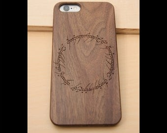 Lord of the Rings Text Real wood laser engraved phone case Iphone 6 6s 6s plus 7 7plus birthday, christmas, anniversary