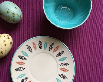 Marcrest Stetson plate and teal Franciscan Coronado cup