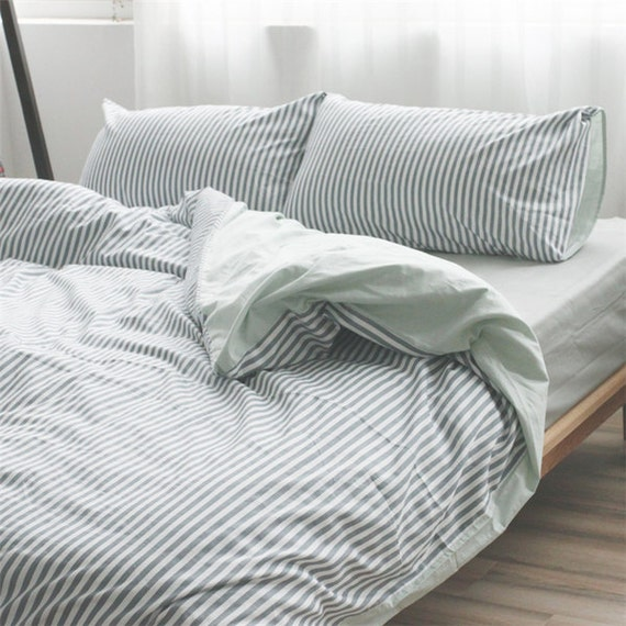 Grey Striped Duvet Cover Reversible Bengal Stripe Grey Linen