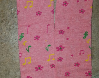 Pink flowers and music notes baby leg warmers