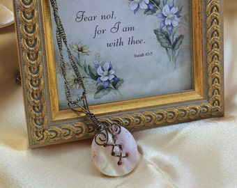 Vintage Button Necklace Bronze Wire-Wrapped Vintage Iridescent Creamy Mother of Pearl Button