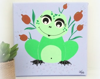 Frog table for child's room baby, table frog 20x20cm, Acrylic paint on cotton canvas, decoration for baby child