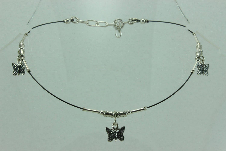 delicate sterling silver ankle bracelet anklet steel wire nylon ...