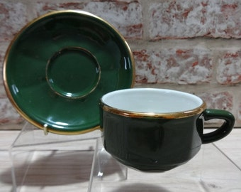 Apilco Espresso vintage green and gold coffee cup and saucer, Demitasse cup, French Apilco, Coffee