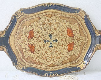 Vintage Italian Florentine Wooden Serving Tray, Gold and Blue