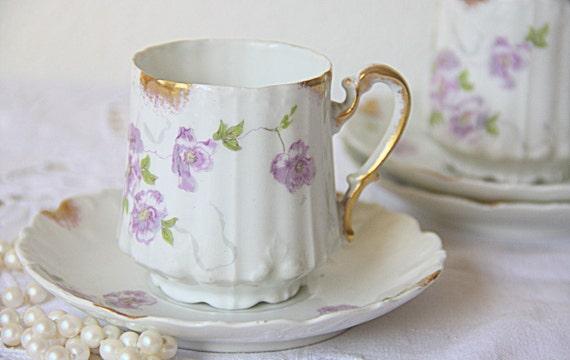 Lovely Antique Limoges Porcelain Lady Size Cup and Saucer, Handpainted Purple Flower Decor, M R France