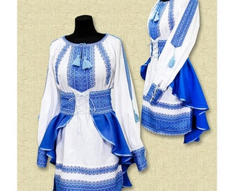 Elegant Ukrainian  embroidered costume (vishyvanka), for girls 2-12 years
