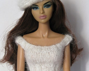 """Handmade knitted top and beret for 12"""" fashion royalty etc."""