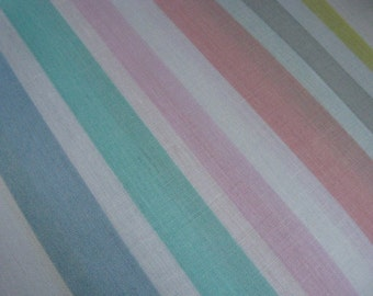 "Pastel Striped Cotton~~44 1/2"" wide x 1 yard~~Vintage Cotton Yardage"