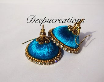 Silk thread earrings-silkthread jhumkas