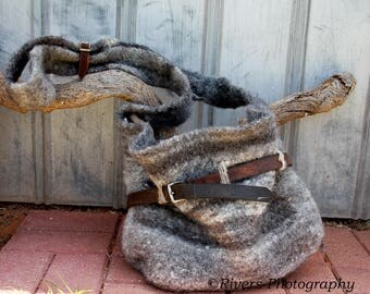 Hand spun and knitted mediaeval rustic style felted 100% wool handbag