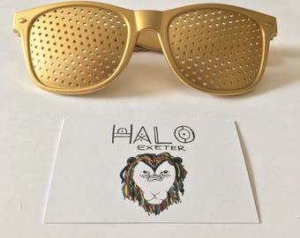 Gold Rave Sunglasses. Fun Pin Hole Festival and Party Shades