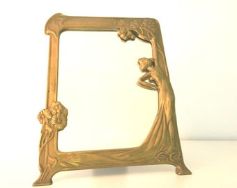 Antiguo marco espejo tipo Art Nouveau / antique Art Nouveau design mirror frame