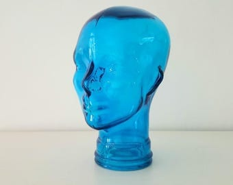 cabeza de cristal azul / blue glass head
