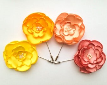 Flower Lapel Pin, Set of 4, Mens Boutonniere,Grooms Lapel Pin, Fabric Flower, Corsage Flower Pin, Yellow Coral Peach boutonniere corsage