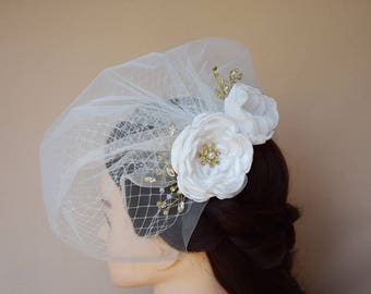Double Birdcage Veil, Blusher Veil, Birdcage Veil, Flower Hair Clip, Wedding Fascinator, Bridal Headpiece, Flowr hair clip, Veil FLower