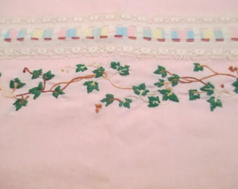 Vintage Embroidered Pillowcase Set, Pink Pillowcases, Embroidered Edge, Bed Linens, Fabrics, Home Decor