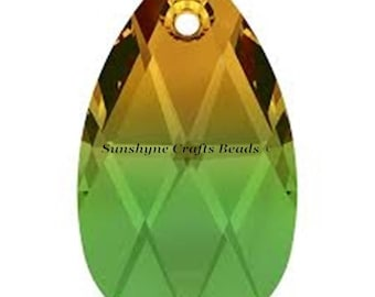 Swarovski Crystal Beads 6106 FERN GREEN TOPAZ Blend Pear Shaped Pendant 1 Pc - 16mm & 22mm Available
