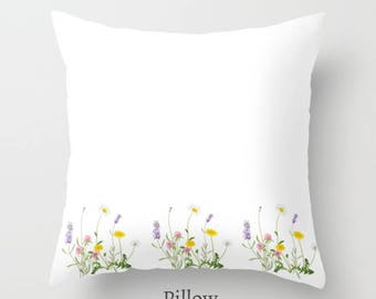 Clover Flowers Pillow Cover White Yellow Purple Floral Cushion Bedroom home Decor 16x16 18x18 20x20 26x26 Square