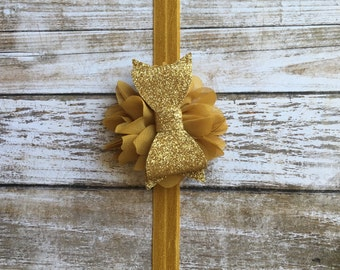gold couture headband
