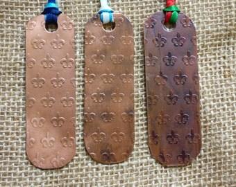 Fleur De Lis Patterned Copper Bookmarks - Fleur De Lis Bookmark - Copper Bookmark - Custom Bookmark - Handmade Copper Bookmark