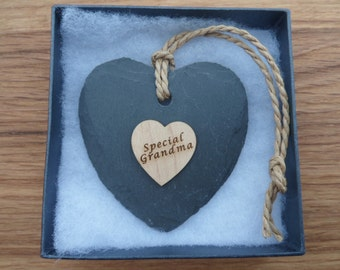 Special Grandma, Engraved Maple Heart on a Slate Heart.