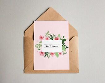 Wedding Invitation Pink Floral