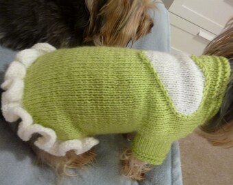 Dog dress with a heart and ruffle- PDF Knitting Pattern