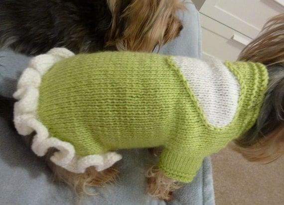 Dog Sweater Knitting Pattern Circular Needle : Dog dress with a heart and ruffle PDF Knitting Pattern