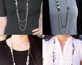 Long Multi Strand Bead and Chain Necklace WITH EARRINGS - Long Necklace - Multi Strand Necklace - Long statement Necklace