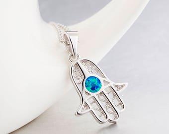 Opal Hamsa Necklace