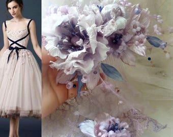 White Pale lavender Wedding Bridal silk flowers. Prom dress, Wedding Silk Flower Corsage Boutonniere Brooch, groom bridemades flower