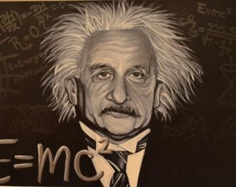 "24 x 36 Original acrylic painting, ""Einstein"""