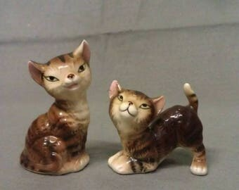 Brown Beige and Tan Cats with Pink Ears and Mouth and Slanted Eyes Cat Salt and Pepper Shaker Set