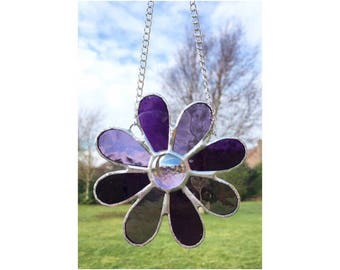 Stained Glass Purple Flower Suncatcher Decoration
