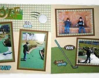 Golf Scrapbook Layout - Golf Scrapbook Pages - Dad Scrapbook Pages - Father's Day Pages - premade golf scrapbook pages - premade golf layout