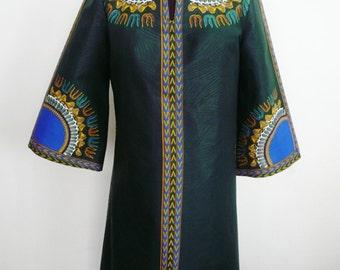 Dark Green A-Line Dashiki Dress, Short Angelina Dress, Ladies' Short Ankara Dress, Short Green Dress, Mandarin Collar Dress – One of a kind