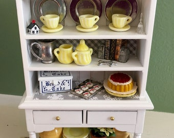 Dollhouse Miniature White Hutch with Gray and Yellow