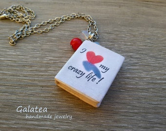 Mini Book necklace Miniature book pendant  Tiny book jewelry Book Lovers Gift for Reader White book geek Charms Librarian jewelry Book lover