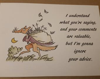 Fantastic Mr Fox Witty Quote Watercolour Painting Roald Dahl Quentin Blake Hand Painted A4 A5 8x10'''