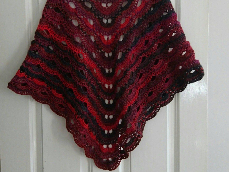 Crochet Virus Shawl : Crochet Virus Shawl 30% wool handmade red/black by BezCreations