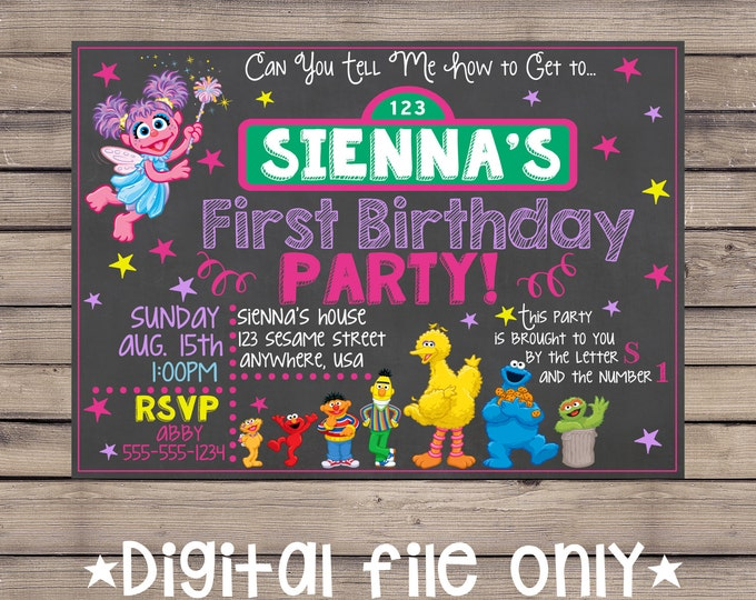 Sesame Street Invitation / Sesame Street Birthday Invitation / Sesame Street Chalkboard Birthday Invitation /Sesame Street Invite / Digital