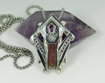 Solid silver pendant tourmaline watermelon, rhodolite, amethyst, iolite, hand made creation, made in france