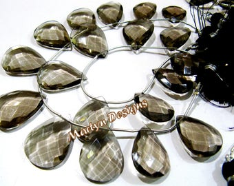 AAA Quality Smoky Quartz Faceted Pear Shape Beads , Hydro Quartz Briolettes 15x20mm to 18x25mm Size Beads , Length 8 inches , Side Drilled