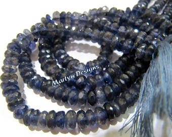 High Quality Natural Iolite 7-8mm Size Beads , Rondelle Faceted Exclusive Iolite Beads , Length 10 inch long , Semi Precious Gemstone Beads